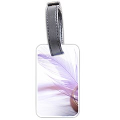 Ring Feather Marriage Pink Gold Luggage Tags (one Side)
