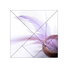 Ring Feather Marriage Pink Gold Acrylic Tangram Puzzle (4  X 4 )