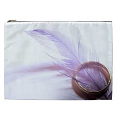 Ring Feather Marriage Pink Gold Cosmetic Bag (xxl)