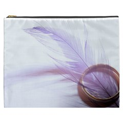 Ring Feather Marriage Pink Gold Cosmetic Bag (xxxl)