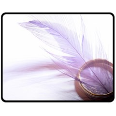 Ring Feather Marriage Pink Gold Double Sided Fleece Blanket (medium)