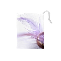 Ring Feather Marriage Pink Gold Drawstring Pouches (small)