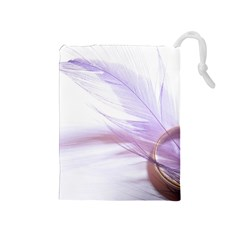 Ring Feather Marriage Pink Gold Drawstring Pouches (medium)