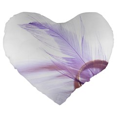 Ring Feather Marriage Pink Gold Large 19  Premium Flano Heart Shape Cushions