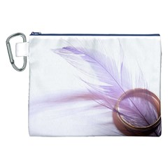 Ring Feather Marriage Pink Gold Canvas Cosmetic Bag (xxl)