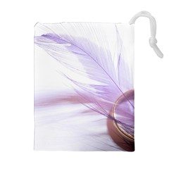 Ring Feather Marriage Pink Gold Drawstring Pouches (extra Large)