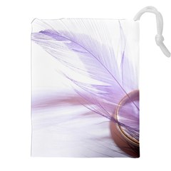 Ring Feather Marriage Pink Gold Drawstring Pouches (xxl)