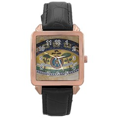 Peace Monument Werder Mountain Rose Gold Leather Watch