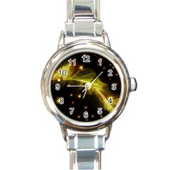 Particles Vibration Line Wave Round Italian Charm Watch