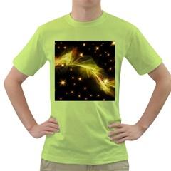 Particles Vibration Line Wave Green T Shirt