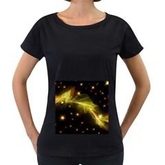 Particles Vibration Line Wave Women s Loose Fit T Shirt (black)