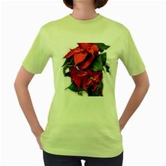 Star Of Bethlehem Star Red Women s Green T Shirt