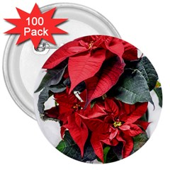 Star Of Bethlehem Star Red 3  Buttons (100 Pack)
