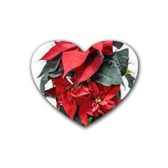 Star Of Bethlehem Star Red Rubber Coaster (heart)