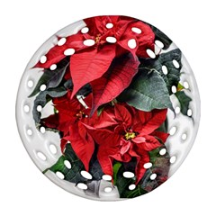 Star Of Bethlehem Star Red Round Filigree Ornament (2side)