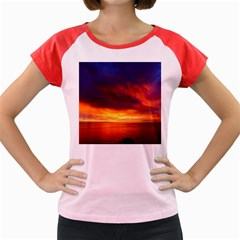 Sunset The Pacific Ocean Evening Women s Cap Sleeve T Shirt