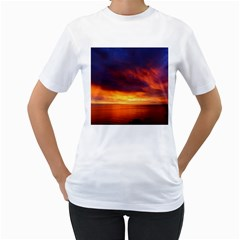 Sunset The Pacific Ocean Evening Women s T Shirt (white) (two Sided)