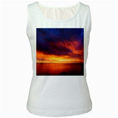 Sunset The Pacific Ocean Evening Women s White Tank Top