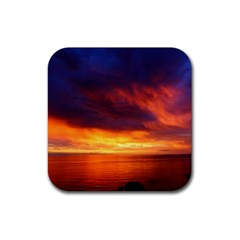Sunset The Pacific Ocean Evening Rubber Coaster (square)