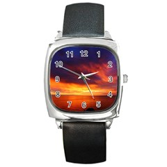 Sunset The Pacific Ocean Evening Square Metal Watch