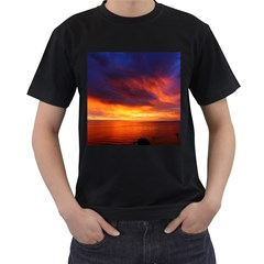 Sunset The Pacific Ocean Evening Men s T Shirt (black) (two Sided)
