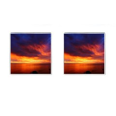 Sunset The Pacific Ocean Evening Cufflinks (square)