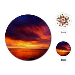 Sunset The Pacific Ocean Evening Playing Cards (round)