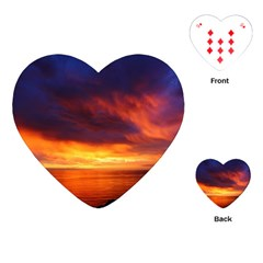 Sunset The Pacific Ocean Evening Playing Cards (heart)