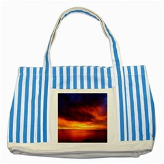 Sunset The Pacific Ocean Evening Striped Blue Tote Bag