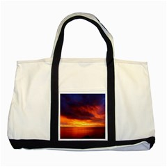 Sunset The Pacific Ocean Evening Two Tone Tote Bag