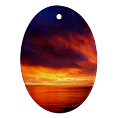 Sunset The Pacific Ocean Evening Oval Ornament (two Sides)