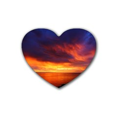 Sunset The Pacific Ocean Evening Heart Coaster (4 pack)