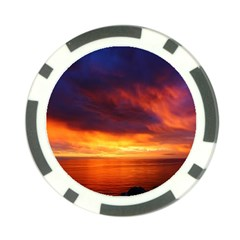 Sunset The Pacific Ocean Evening Poker Chip Card Guards