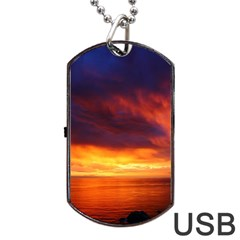 Sunset The Pacific Ocean Evening Dog Tag Usb Flash (one Side)