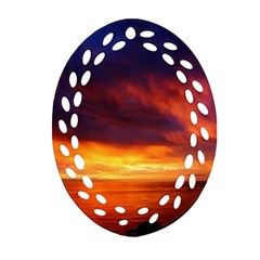 Sunset The Pacific Ocean Evening Oval Filigree Ornament (2 Side)
