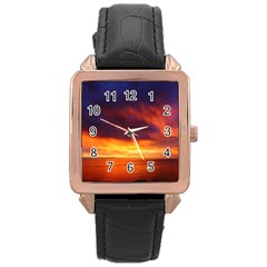 Sunset The Pacific Ocean Evening Rose Gold Leather Watch