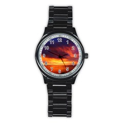 Sunset The Pacific Ocean Evening Stainless Steel Round Watch