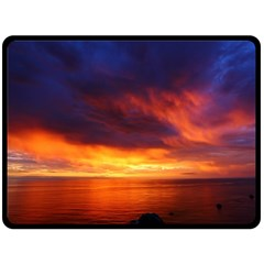 Sunset The Pacific Ocean Evening Double Sided Fleece Blanket (large)