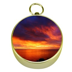 Sunset The Pacific Ocean Evening Gold Compasses