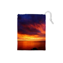 Sunset The Pacific Ocean Evening Drawstring Pouches (small)