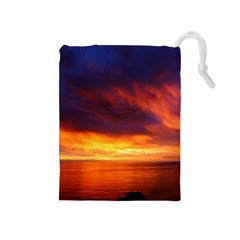 Sunset The Pacific Ocean Evening Drawstring Pouches (medium)
