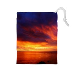 Sunset The Pacific Ocean Evening Drawstring Pouches (large)