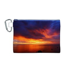 Sunset The Pacific Ocean Evening Canvas Cosmetic Bag (m)