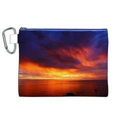 Sunset The Pacific Ocean Evening Canvas Cosmetic Bag (xl)