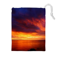 Sunset The Pacific Ocean Evening Drawstring Pouches (extra Large)