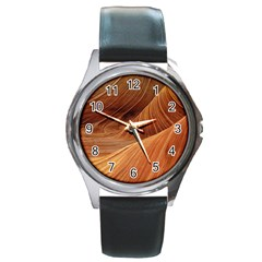 Sandstone The Wave Rock Nature Red Sand Round Metal Watch