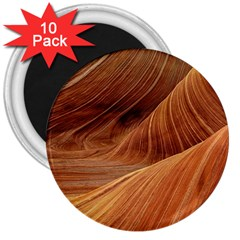 Sandstone The Wave Rock Nature Red Sand 3  Magnets (10 Pack)