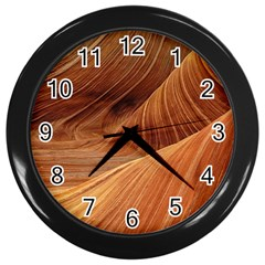 Sandstone The Wave Rock Nature Red Sand Wall Clocks (black)