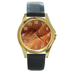 Sandstone The Wave Rock Nature Red Sand Round Gold Metal Watch