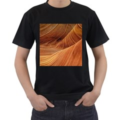 Sandstone The Wave Rock Nature Red Sand Men s T Shirt (black) (two Sided)